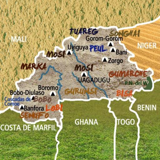 Mapa Burkina Faso-Viaje