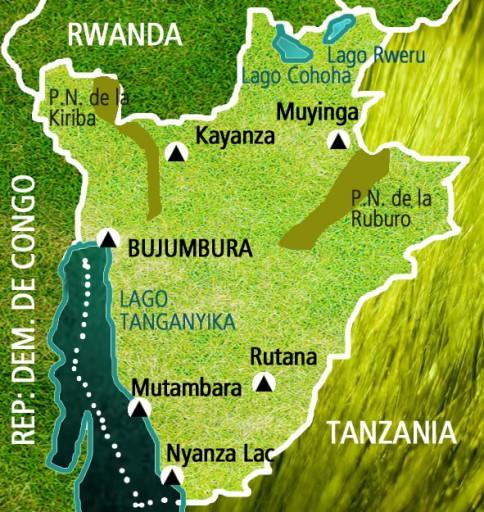 Mapa Burundi-Viaje