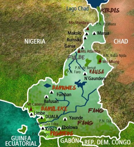 Mapa Camerún-Viaje Cultura African y Viajes