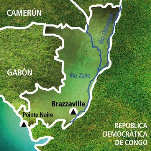 Mapa Congo Brazzaville. Viaje