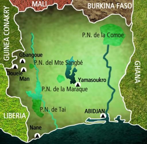 Mapa Costa de Marfil. Viaje