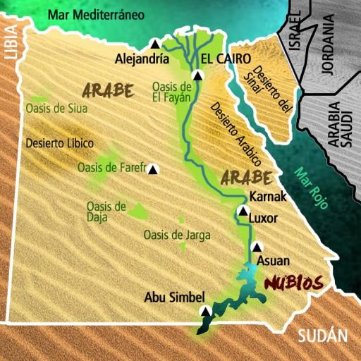 Mapa Egipto. Viaje