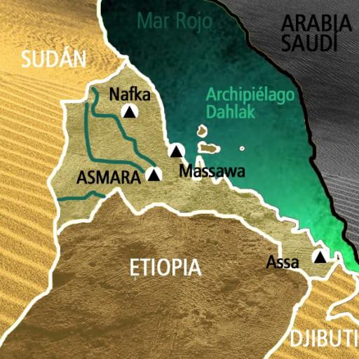 Mapa Eritrea. Viaje