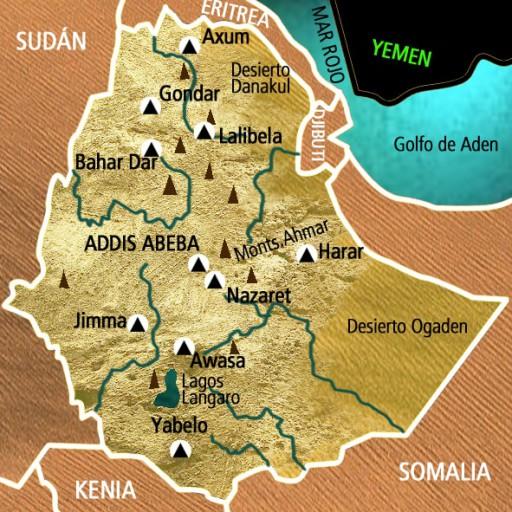 Mapa Etiopía. Viaje