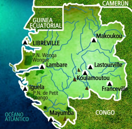 Mapa Gabón. Viaje