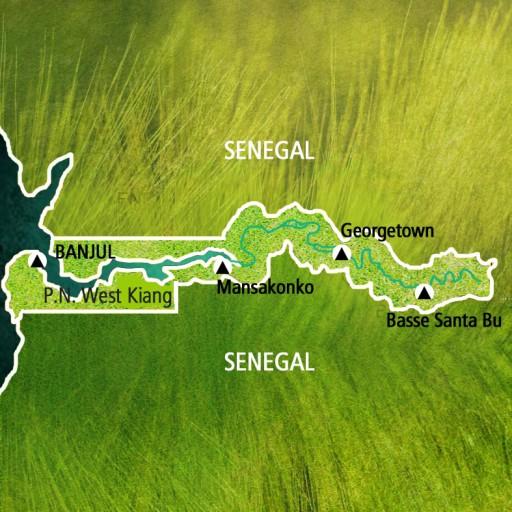 Mapa Gambia. Viaje