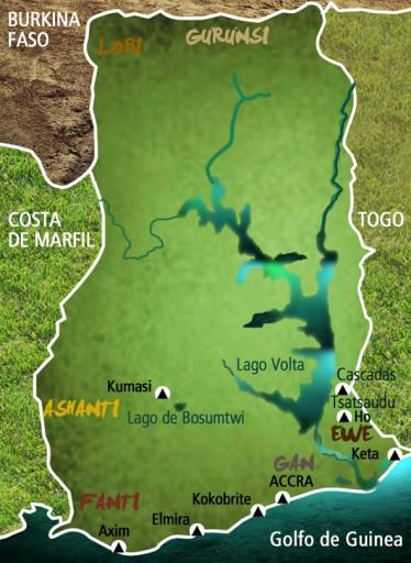 Mapa Ghana. Viaje