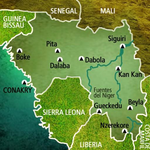 Mapa Guinea Conakry. Viaje