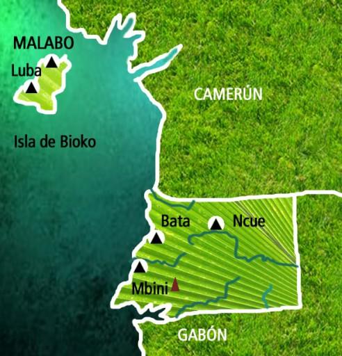 Mapa Guinea Ecuatorial. Viaje