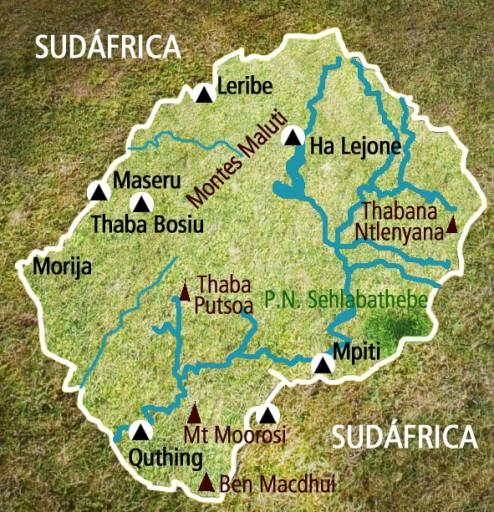 Mapa Lesoto. Viaje