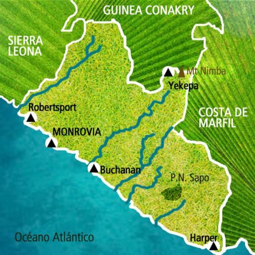 Mapa Liberia. Viaje