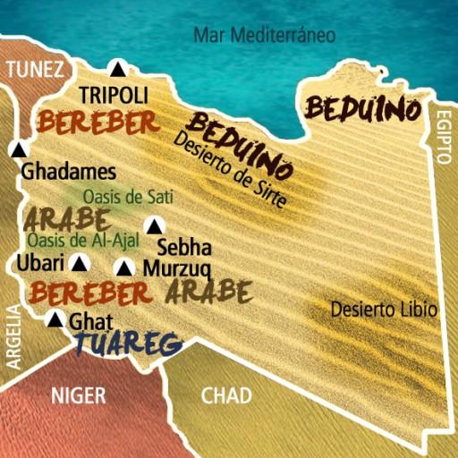 Mapa Libia. Viaje