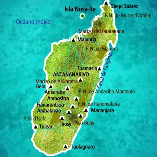 Mapa Madagascar. Viaje