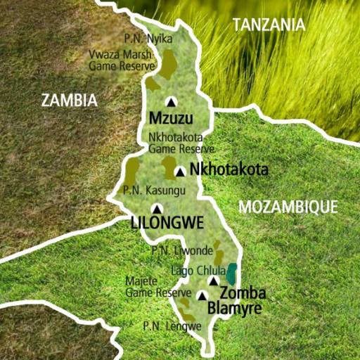 Mapa Malawi. Viaje