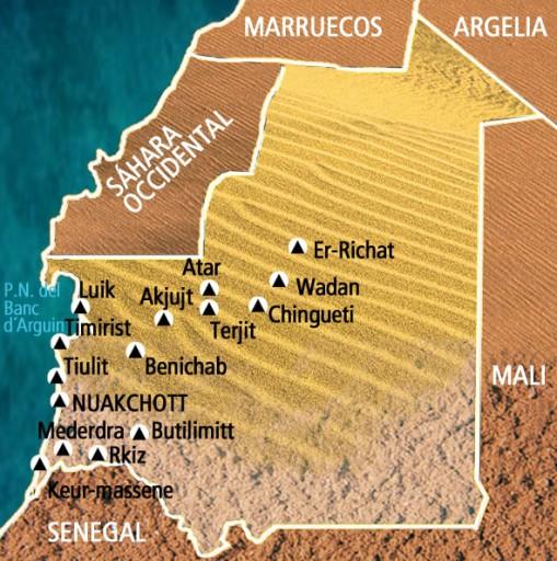 Mapa Mauritania. Viaje