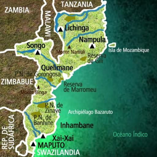 Mapa Mozambique. Viaje