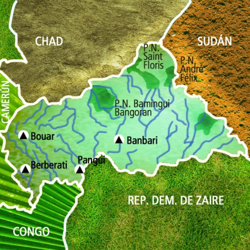 Mapa República Centroafricana. Viaje