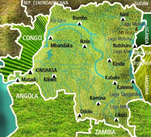 Mapa República Democrática de Congo. Viaje