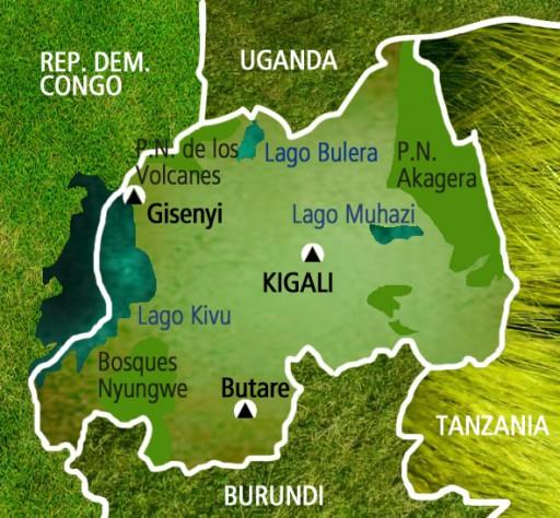 Mapa Ruanda. Viaje