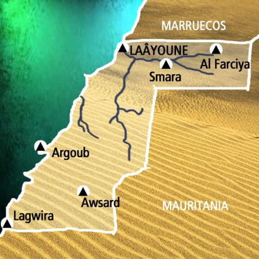 Mapa Sahara Occidental. Viaje