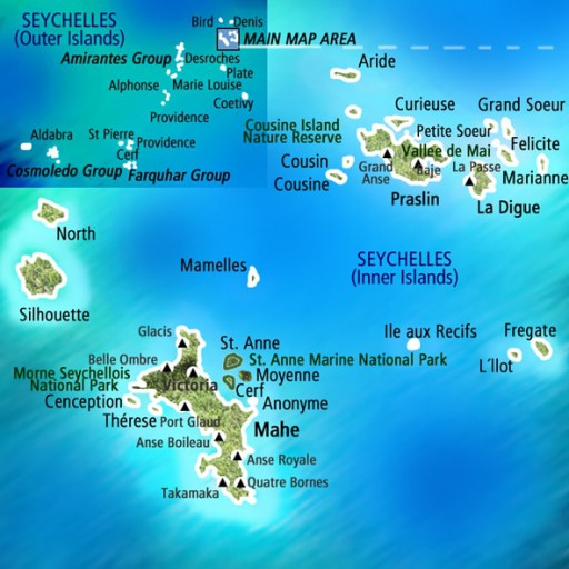 Mapa Seychelles. Viaje