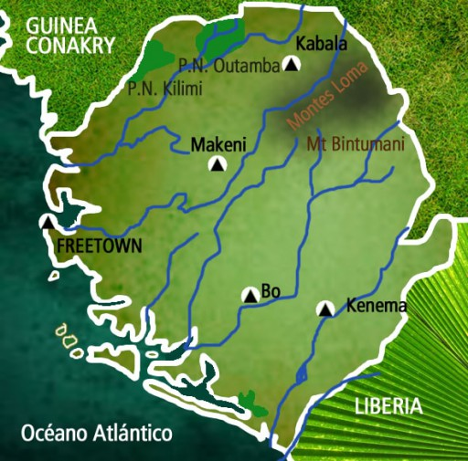Mapa Sierra Leona. Viaje