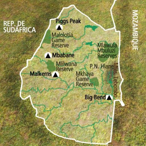 Mapa Suazilandia. Viaje