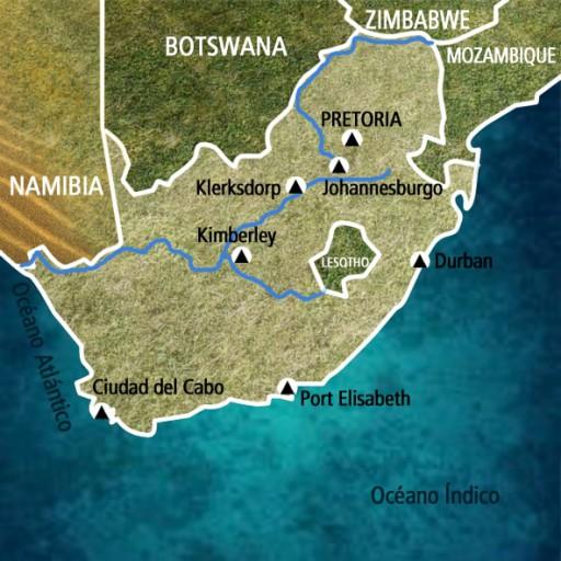 Mapa Sudáfrica. Viaje