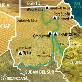 Mapa Sudán. Viaje