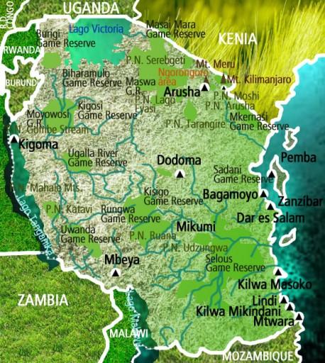 Mapa Tanzania. Viaje