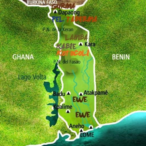 Mapa Togo. Viaje