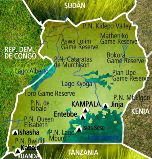 Mapa Uganda. Viaje