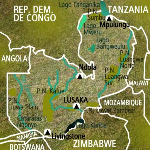 Mapa Zambia. Viaje
