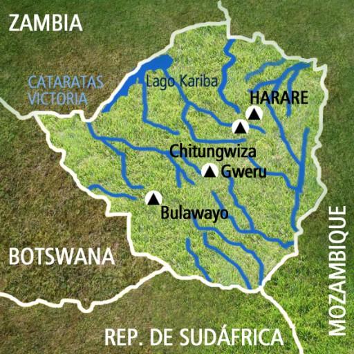 Mapa Zimbabue. Viaje