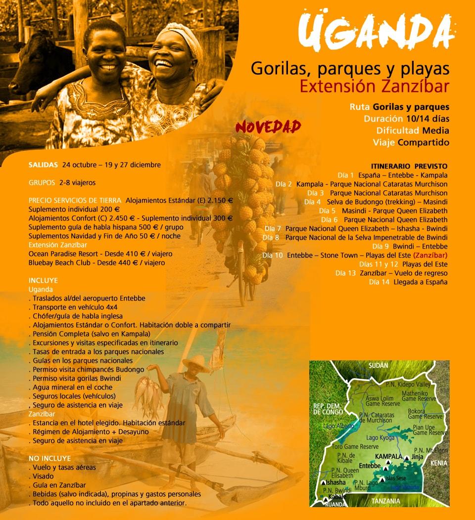 Viaje Uganda y Zanzíbar - Gorilas, parques y playas