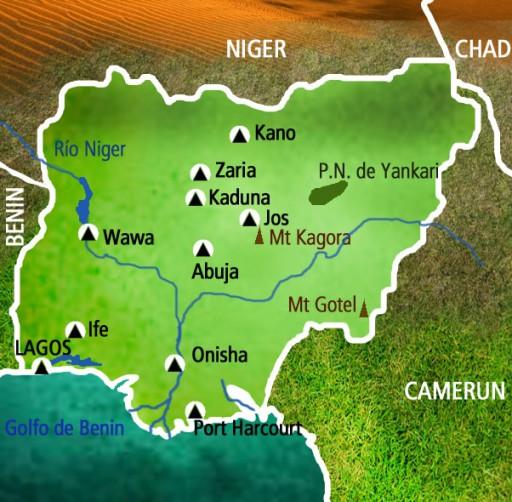 Mapa Nígeria. Viaje