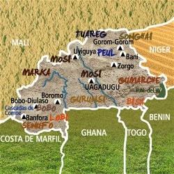 Mapa Burkina Faso. Información