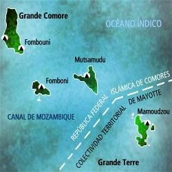 Mapa Islas Comoras. Información