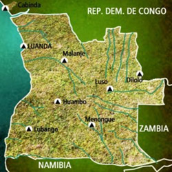 mapa Angola. Información