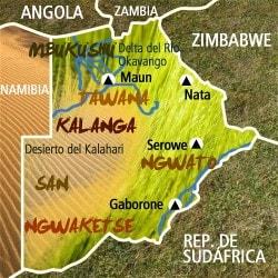 Mapa Botsuana. Información