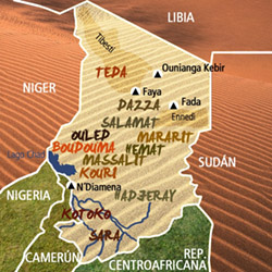 Mapa Chad. Información
