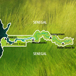 Mapa Gambia. Información