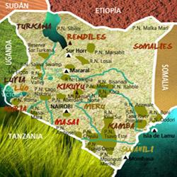 Mapa Kenia. Información