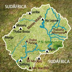 Mapa Lesoto. Información