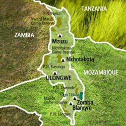 Mapa Malaui. Información