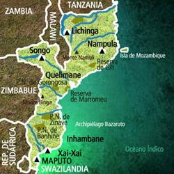 Mapa Mozambique. Información