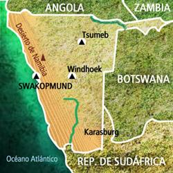 Mapa Namibia. Información