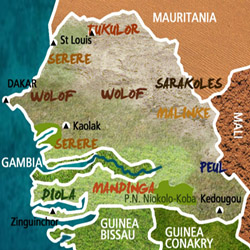 Mapa Senegal. Información