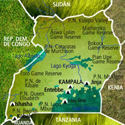Mapa Uganda. Información