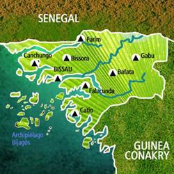 Mapa Guinea Bissau. Información